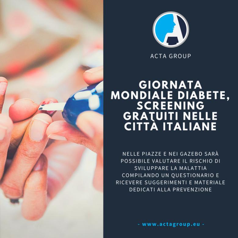 Diabete, giornata mondiale screening gratuiti nelle città italiane